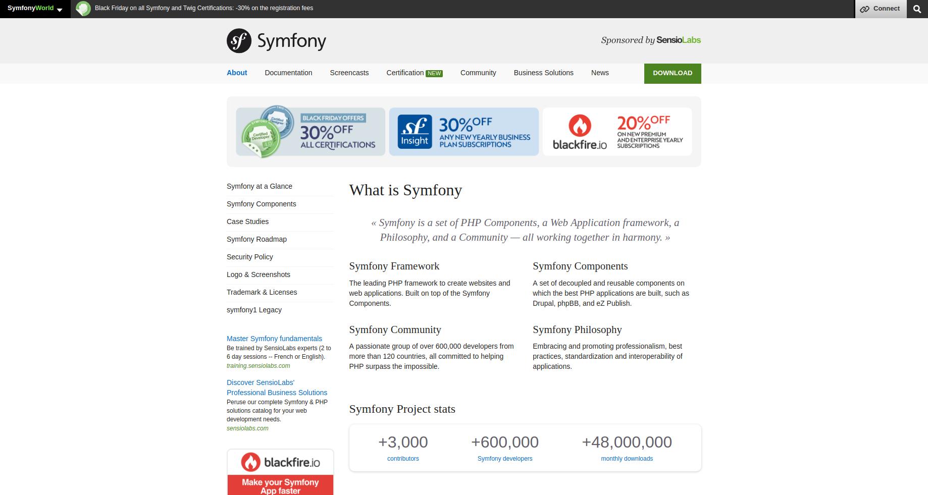 Symfony home page screenshot