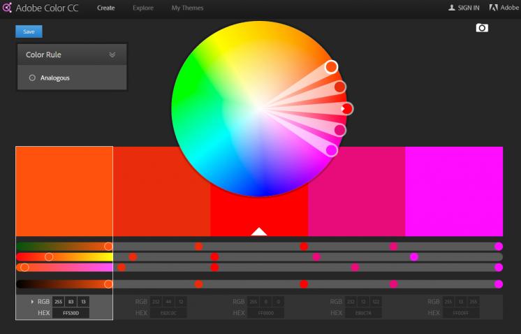Color wheel Color schemes Adobe Color CC
