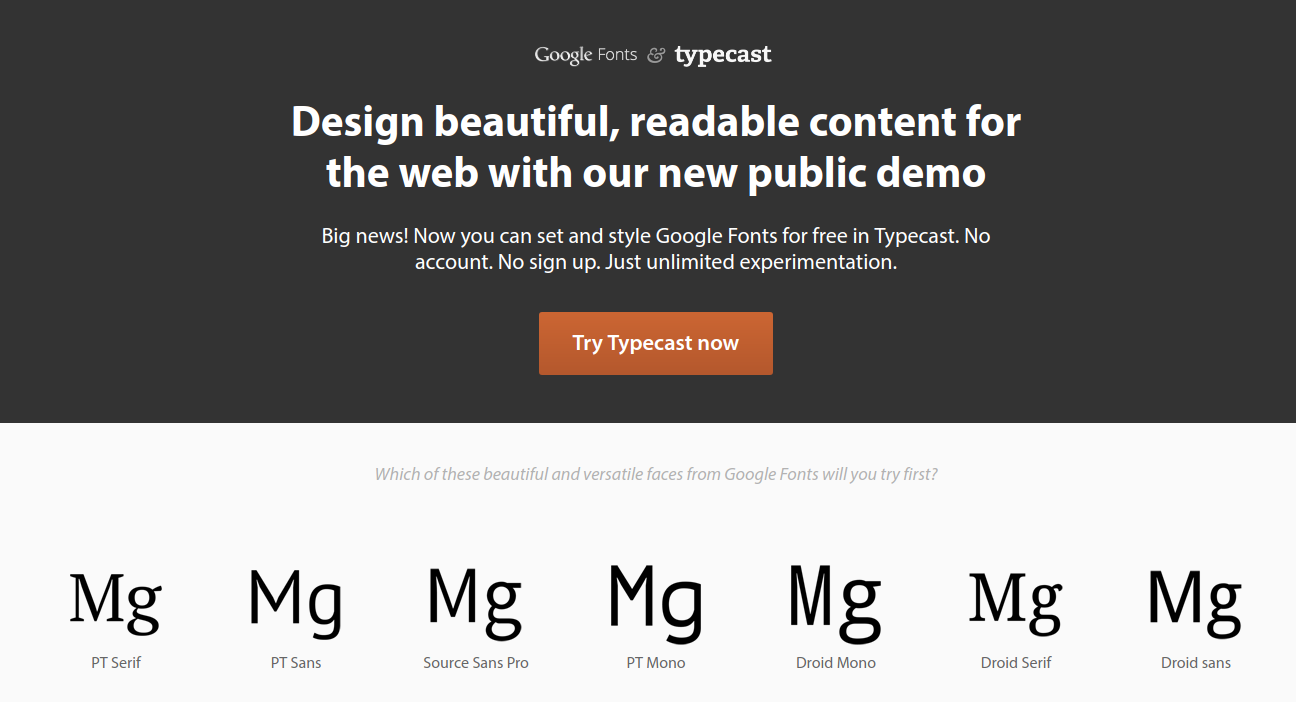 Typecast to compare Google fonts