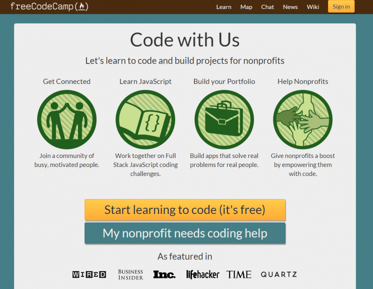 Learn to Code and Build Projects for Nonprofits Free Code Camp