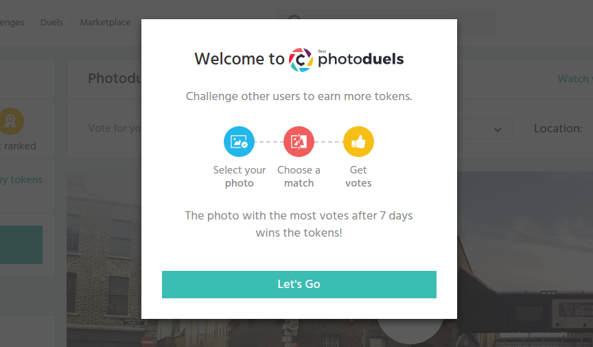 Screenshot of how you start with CoinaPhoto Photoduels