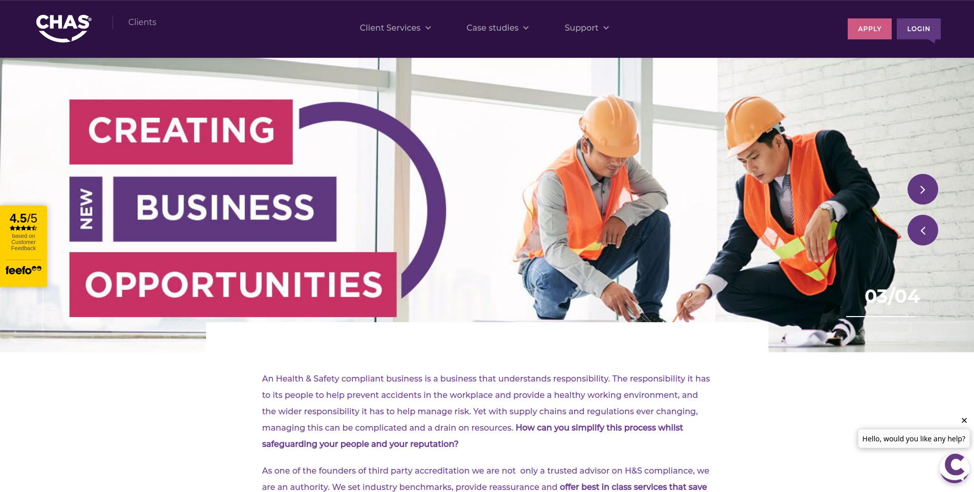 CHAS Service page screenshot