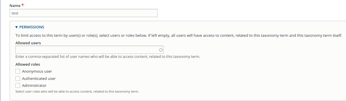 Permissions By Term
