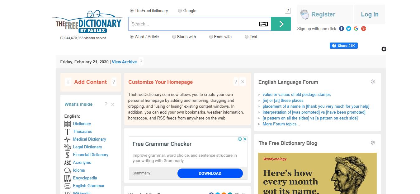 免费词典知识网站
