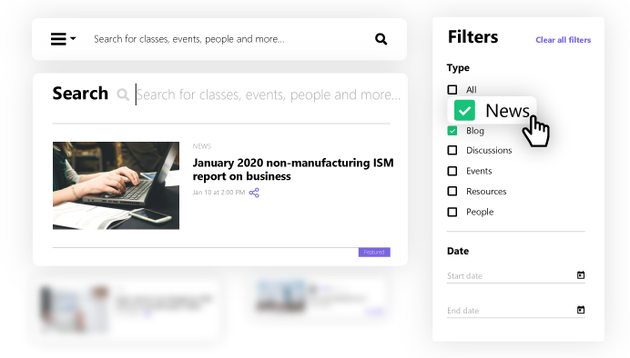 Search and filters design