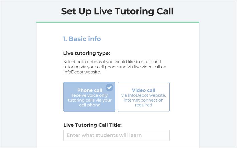 set up live tutoring calls