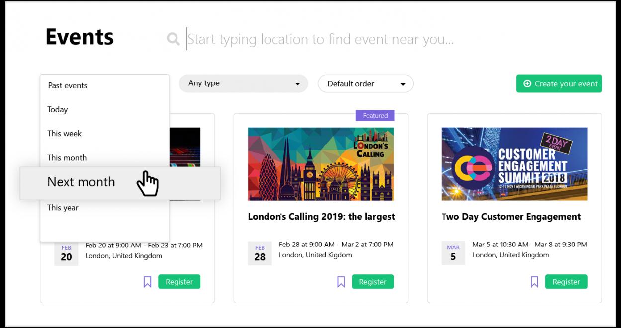 Procurious events page design