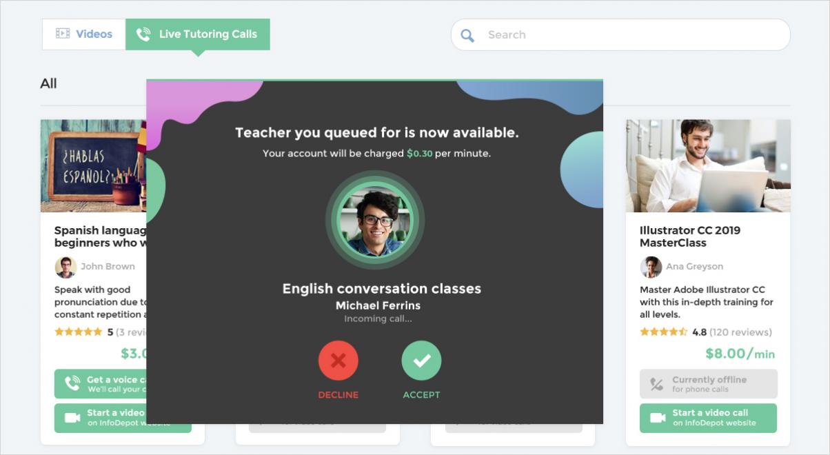 video tutoring calls queue